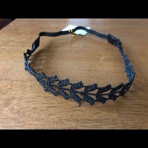 Black/gold shimmer elastic headbands of hope NEW